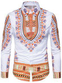 قميص طويل الأكمام نمط العرقية داشيكي طباعة  - الأصفر Xl