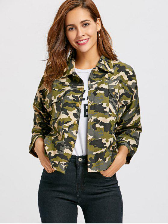 affordable Button Up Camo Print Jacket - CAMOUFLAGE M
