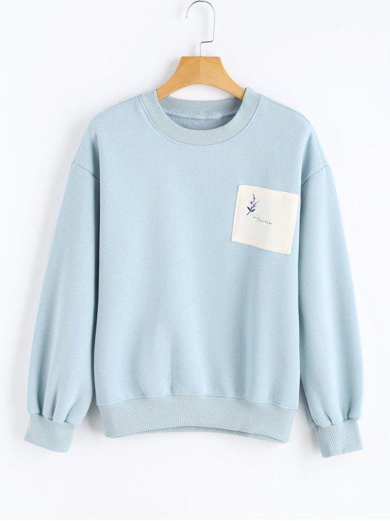 cff8b6f21d86 34% OFF  2019 Drop Shoulder Patchwork Sweatshirt In LIGHT BLUE