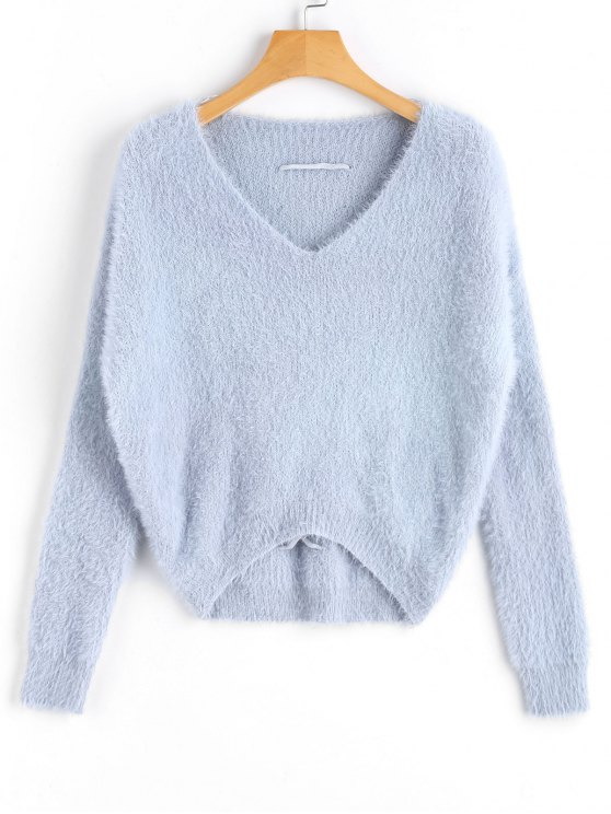 hot V Neck Criss Cross Mohair Sweater - LIGHT BLUE ONE SIZE
