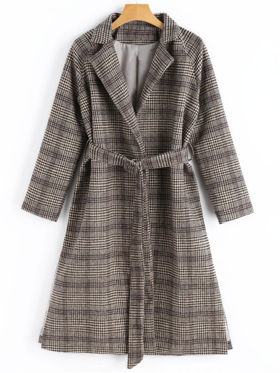 fashion Side Slit Belted Checked Coat with Pockets - CHECKED S