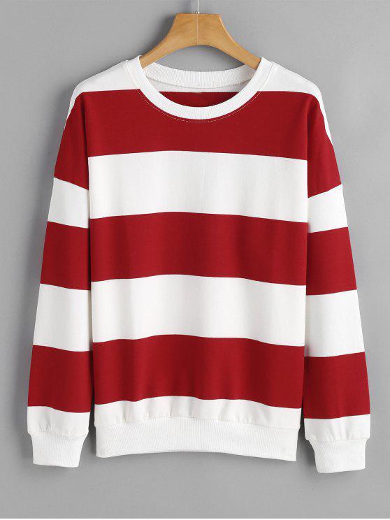 537fad5d 34% OFF] 2019 Loose Drop Shoulder Striped Sweatshirt In STRIPE   ZAFUL