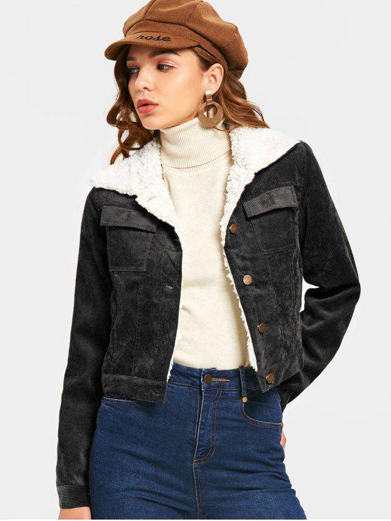 19c7ea0858dc8 27% OFF  2019 Shearling Cropped Corduroy Jacket In BLACK XL