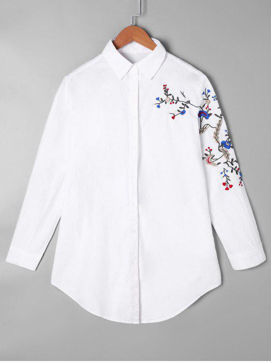 hot Embroidered Curved Tunic Shirt - WHITE ONE SIZE