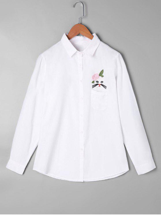 Camisa de bolsillo con aplicación de apliques - Blanco Talla única