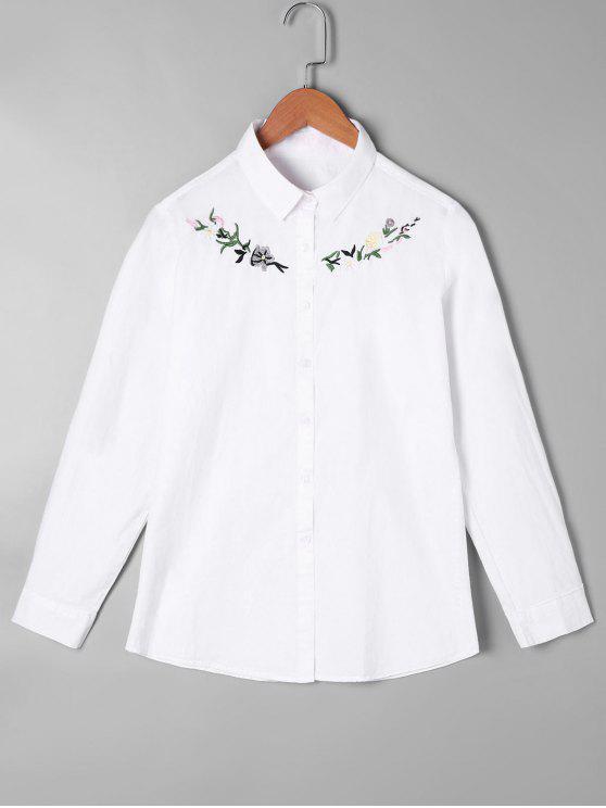 Camisa de bordado con botones - Blanco Talla única