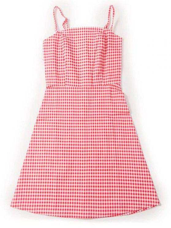 fancy Back Zipper Checked Slip Mini Dress - RED AND WHITE S