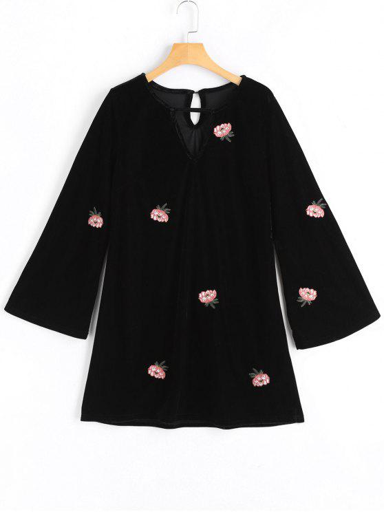 women Flower Patched Flare Sleeve Keyhole Dress - BLACK S