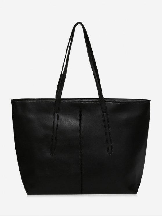 Cucitura Faux Leather Zip Tote Bag - Nero