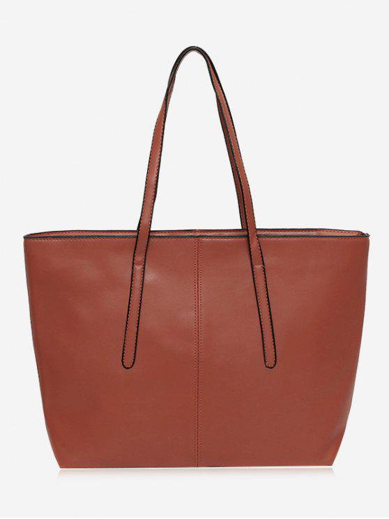 Cucitura Faux Leather Zip Tote Bag - Marrone