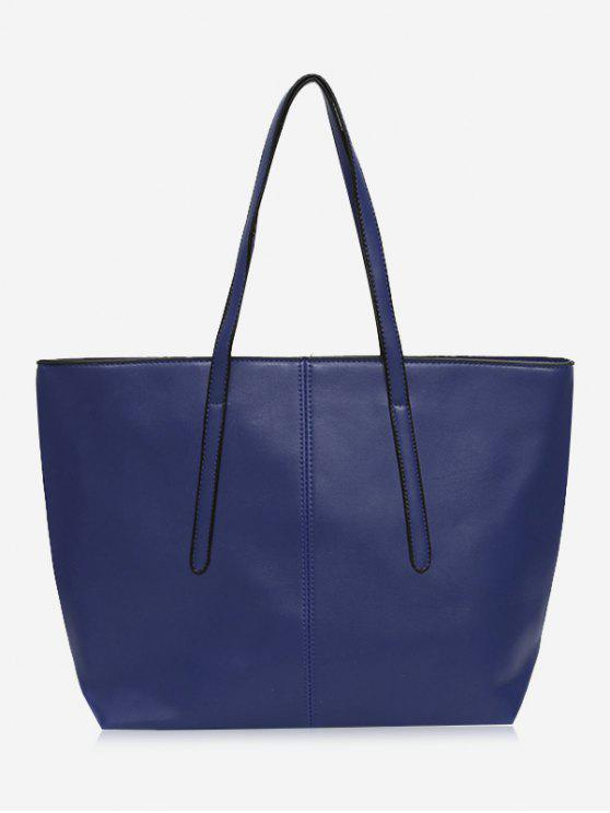 shops Stitching Faux Leather Zip Tote Bag - BLUE