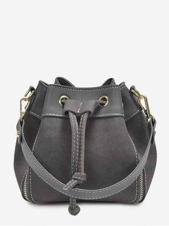 fancy String Faux Leather Handbag - GRAY
