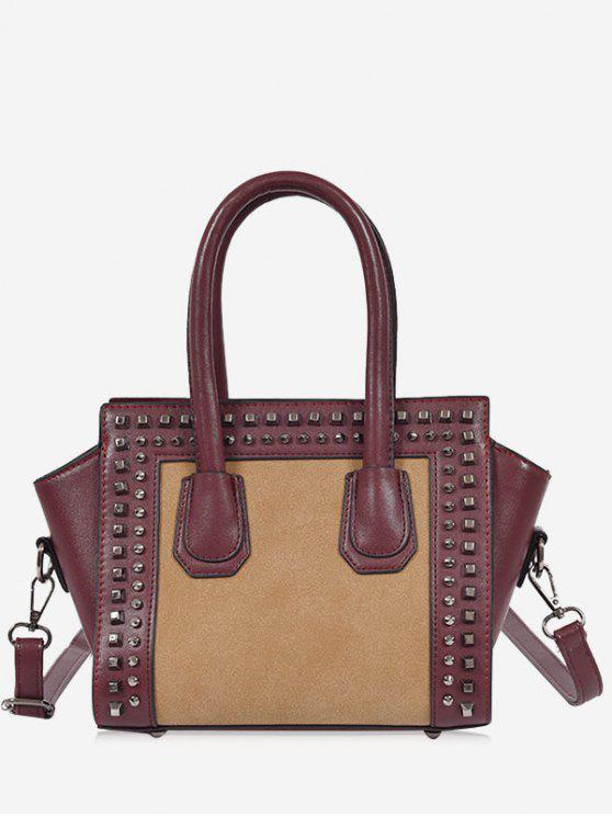 sale Faux Leather Color Block Studs Handbag - WINE RED