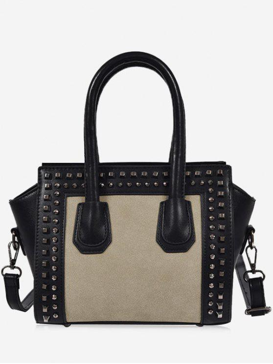 Faux Leather Color Block Studs Handbag - Cinzento