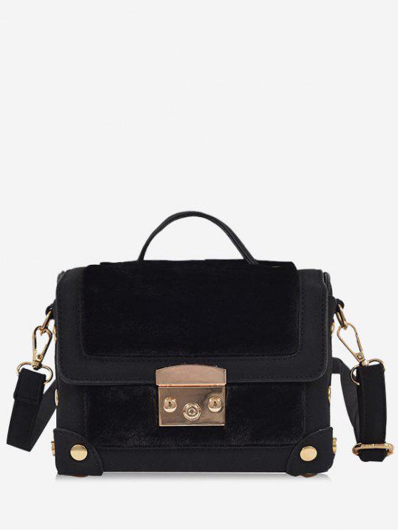 Studs PU Leather Splicing Crossbody Bag - Preto