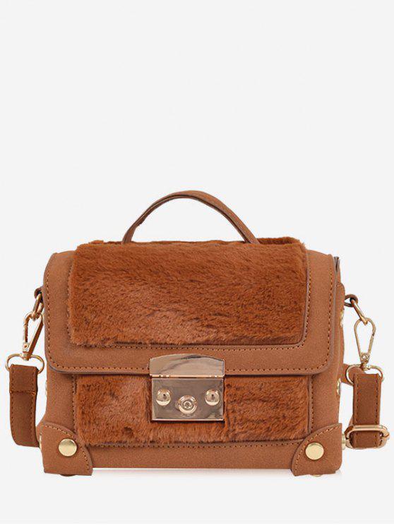 fancy Studs PU Leather Splicing Crossbody Bag - BROWN