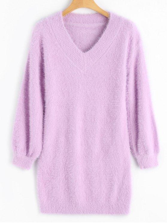 Jersey de mohair con cuello en V y cuello alto - púrpura rosácea Talla única