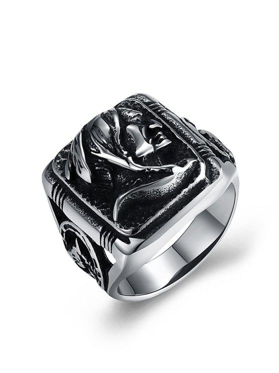 outfits Human Pattern Carved Titanium Steel Biker Ring - SILVER 12