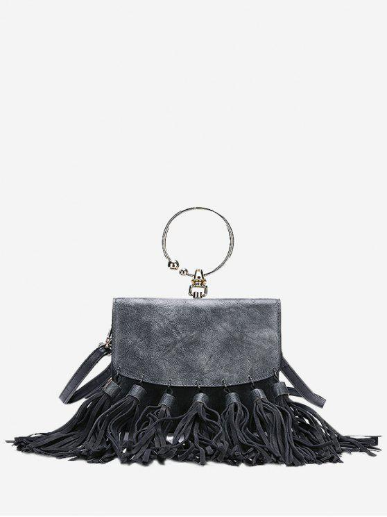 fashion Round Ring Tassels PU Leather Handbag - GRAY