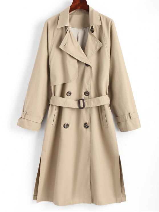 c05fbb3f61f2 34% OFF] 2019 Slit Belted Double-breasted Trench Coat In KHAKI | ZAFUL