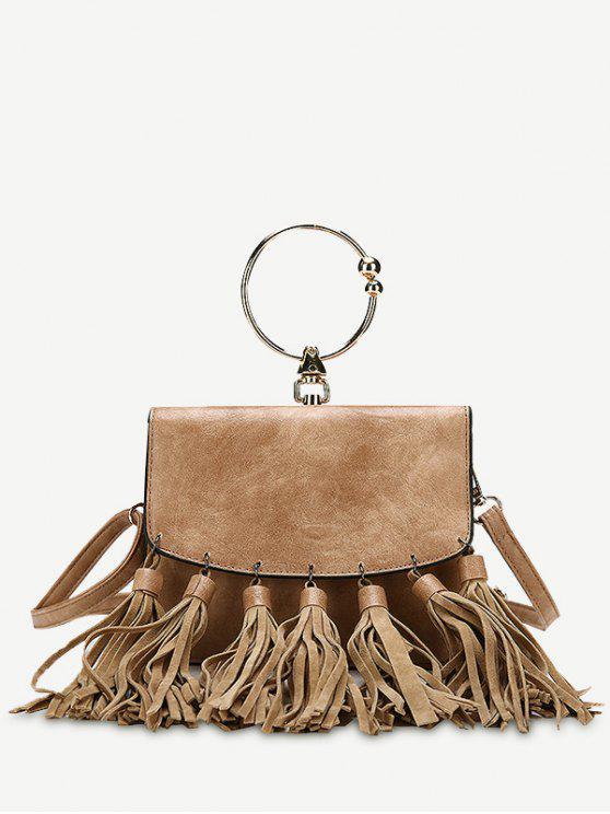 حقيبة يد من الجلد المصنع بمقبض دائري مزينة بشرابات - بنى