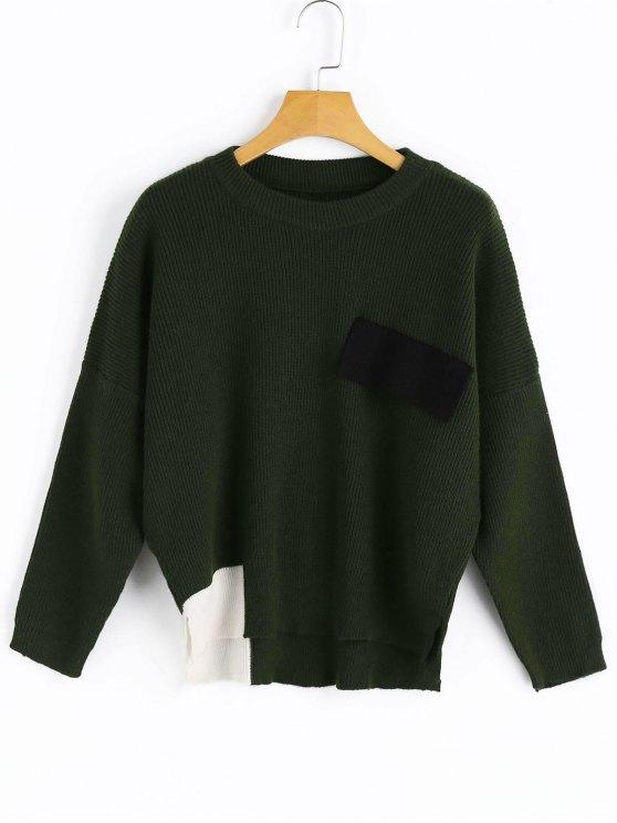 Suéter con bajo contraste y aberturas laterales - Verde negruzco Única Talla