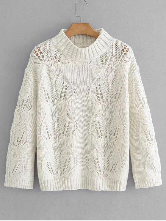 lady Pullover Leaves Hollow Out Sweater - WHITE ONE SIZE