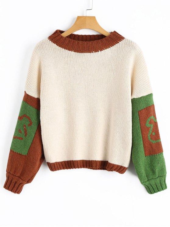 Suéter de contraste gráfico manga linterna - Blancuzco Única Talla