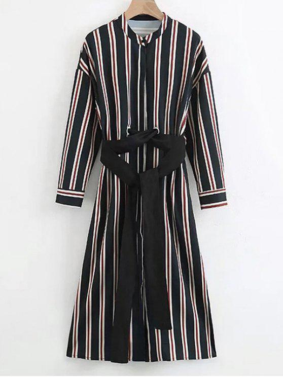 outfit Belted Long Sleeve Stripes Dress - STRIPE S