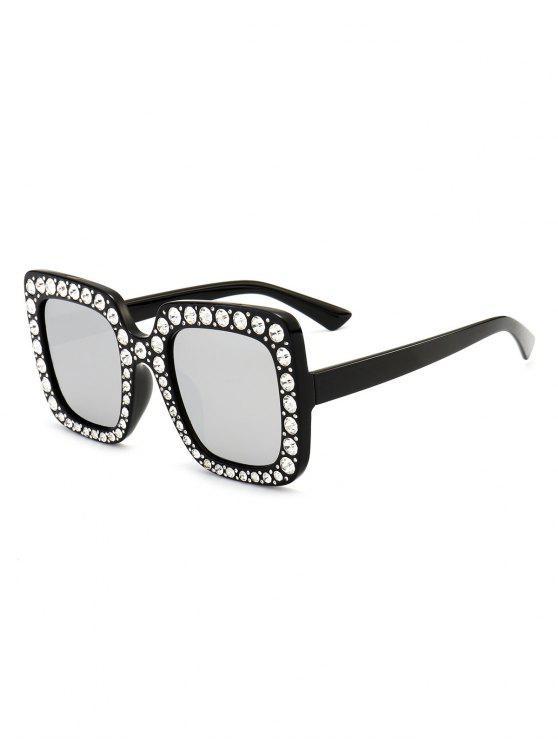 Gafas de sol cuadradas de gran tamaño adornadas con diamantes de imitación - Negro + Mercurio