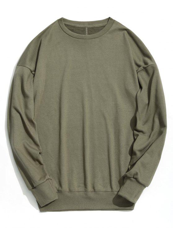 Drop Shoulder Plain Sudadera - Verde del ejército S