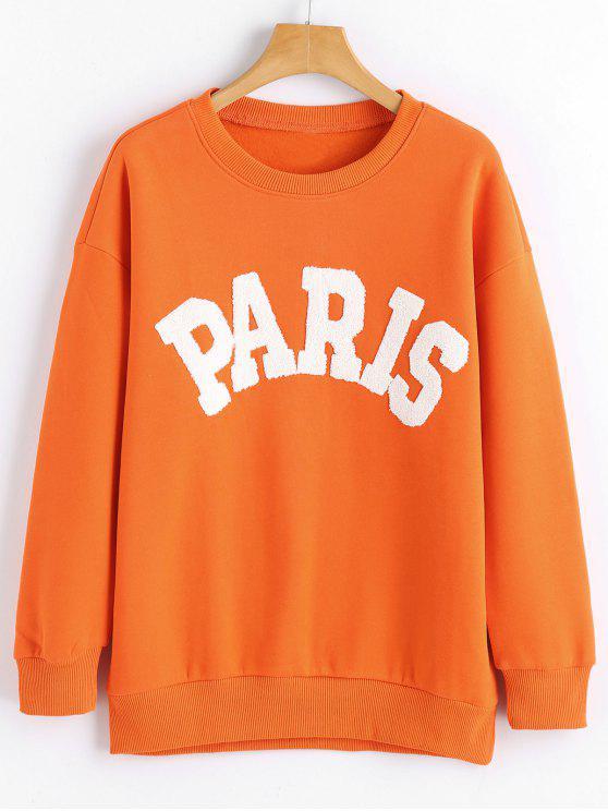 Sweat-shirt Imprimé Paris à Manches Longues - Tangerine S