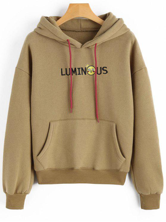 latest Letter Embroidered Patch Kangaroo Pocket Hoodie - KHAKI ONE SIZE