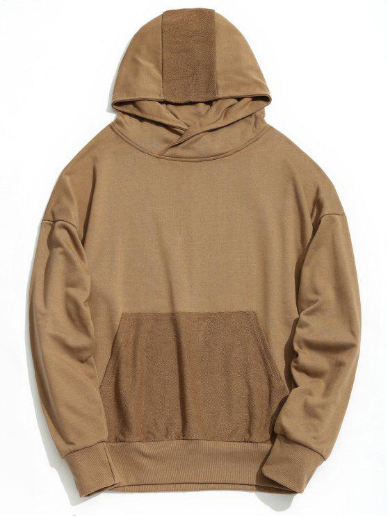 Drop Shoulder Kangaroo Pocket Hoodie - Caqui S