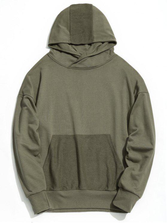chic Drop Shoulder Kangaroo Pocket Hoodie - ARMY GREEN L