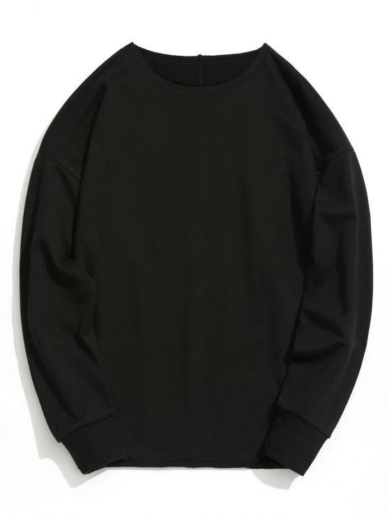 unique Raw Hem Oversize Sweatshirt - BLACK L
