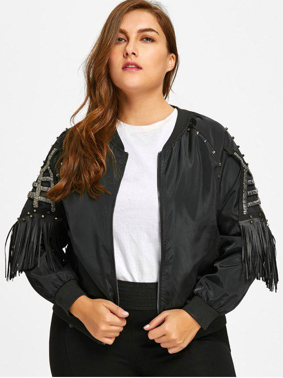 website for discount 2018 sneakers outlet on sale Beading Fringes Plus Size Jacket BLACK
