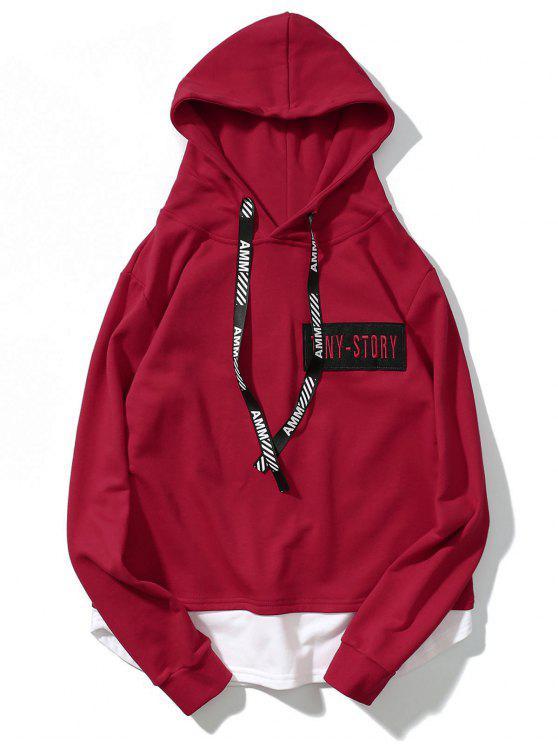 Streetwear Patch Design Hoodie - Rojo M