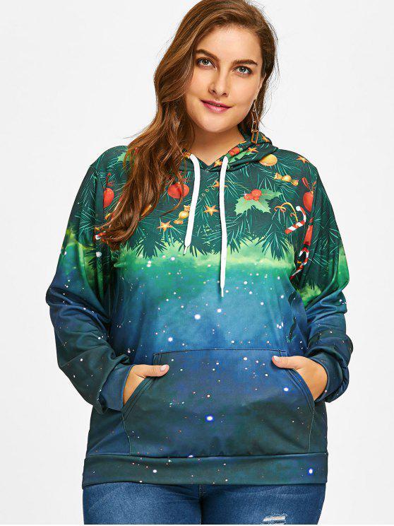 fancy Galaxy Plus Size Christmas Hoodie - GREEN 5XL