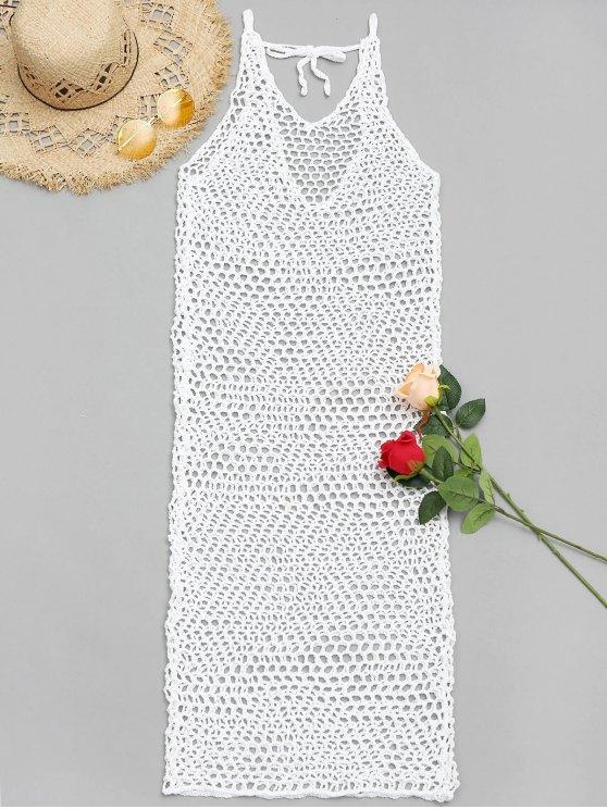 ladies V Neck Crochet Cover Up Dress - WHITE ONE SIZE