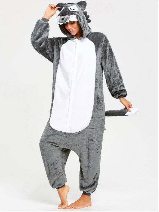 Onesie Wolf Animal Fleece Jumpsuit Ropa de dormir - Gris XL