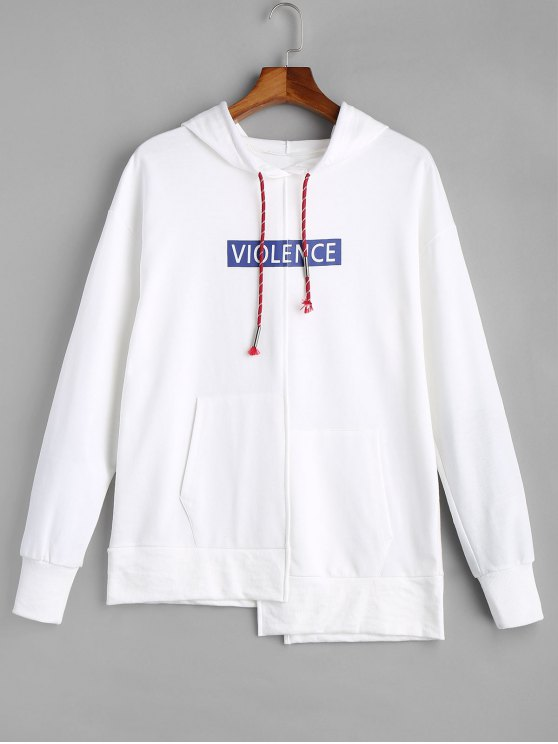 women Violence Graphic Oversized Hoodie - WHITE ONE SIZE