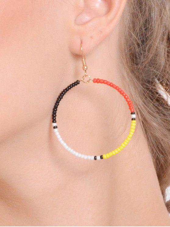 fashion Beaded Circle Hook Earrings - COLORMIX