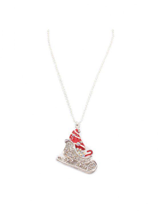 women's Christmas Sleigh Rhinestone Sweater Chain - RED
