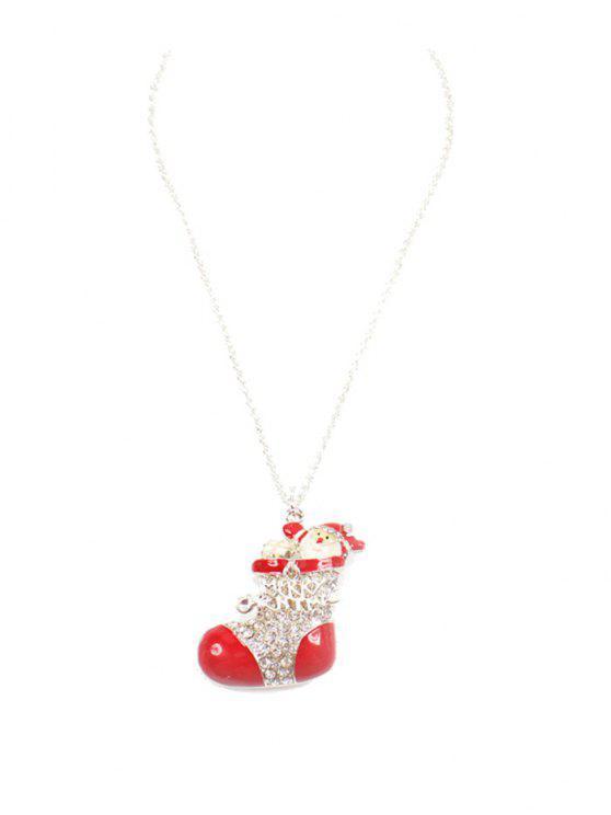lady Rhinestoned Christmas Santa Shoe Sweater Chain - RED