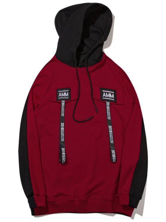 Sudadera con capucha de color block - Negro y Rojo L