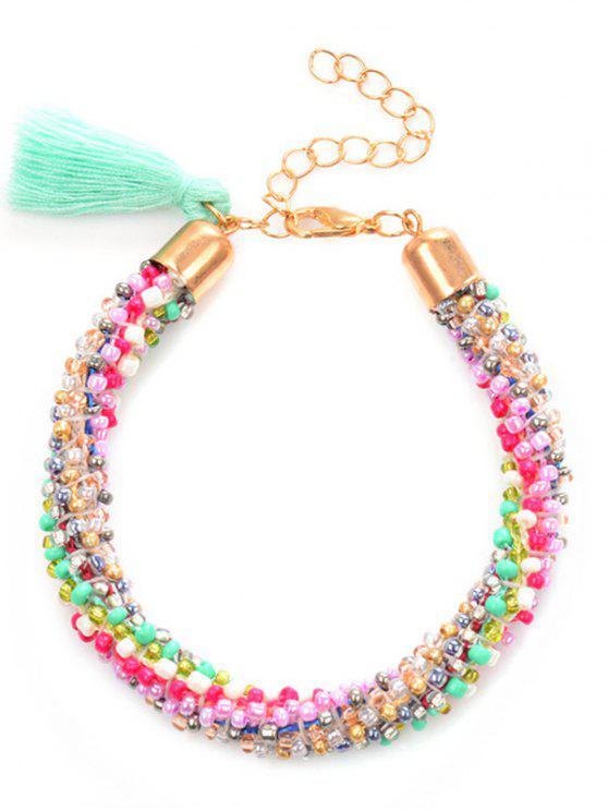 Bracelet pompon à perles de Bohème - Multicolore