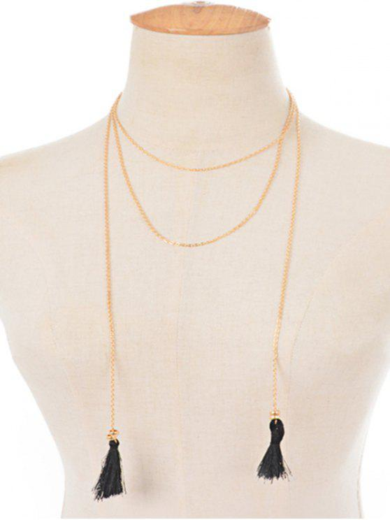 Collar de cadena de aleación de borla - Dorado