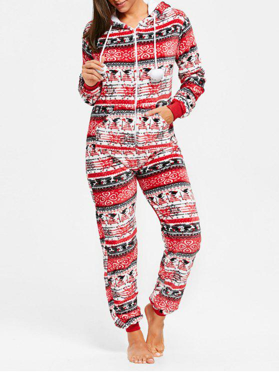 a17a8562c92d 30% OFF  2019 Hooded Zip Christmas Jumpsuit Sleepwear In RED