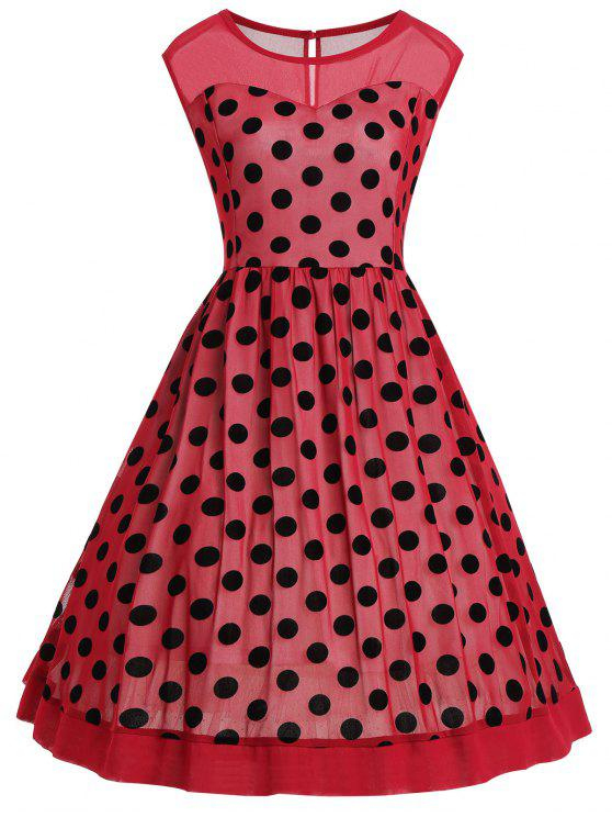 09f054a17d0 29% OFF  2019 Plus Size Polka Dot Sleeveless Vintage Dress In ...